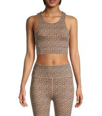 all fenix women's leopard-print longline sports bra - sandy leopard - size s