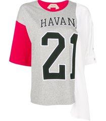 nº21 oversized varsity print t-shirt - grey
