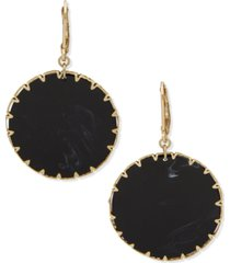 lonna & lilly gold-tone jet disk drop earrings