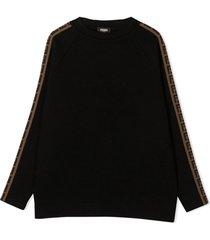 fendi black virgin wool sweatshirt