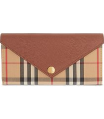 burberry vintage check continental wallet - tan