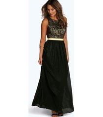 boutique metallic & kanten maxi jurk, zwart