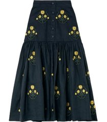 ciruela tiered embroidered skirt