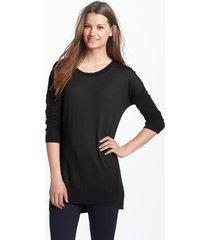 women's halogen back zip tunic sweater, size large