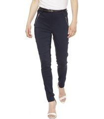 pantalón privilege vicuna azul - calce ajustado