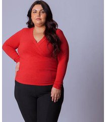 blusa mercatto canelada transpasse feminina - feminino