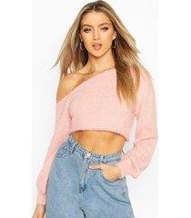 slash neck fluffy sweater, pink