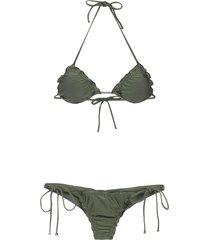 lygia & nanny zaira triangle top bikini set - green