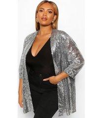 plus duster jas met driekwartsmouw en pailletten, zilver