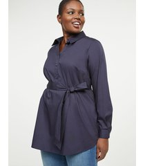 lane bryant women's belted poplin popover 28 night sky