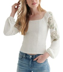lucky brand ruched square-neck top