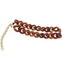 gia borghini rustic brown ankle chain