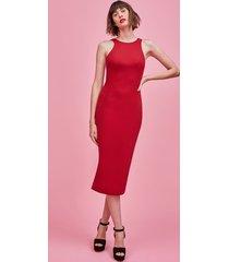red round neck sporty body con dress