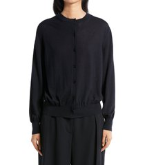 women's the row battersea cashmere cardigan, size large - blue/green
