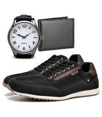 sapatênis urbano com carteira e relógio new dubuy 1100db preto