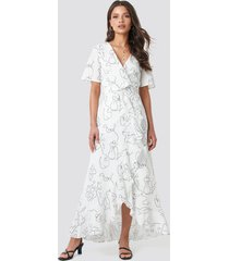 faces i don't know x na-kd wrap midi dress - white
