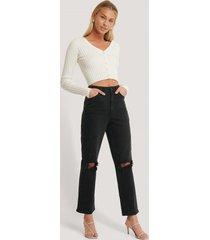 afj x na-kd slitna jeans - black