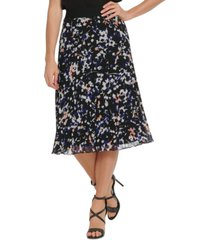 dkny printed pleated midi skirt
