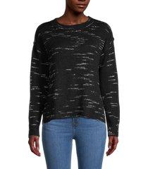 max studio women's crewneck long-sleeve sweater - charcoal - size xl