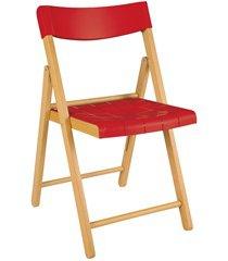 cadeira dobrável sem braço em madeira tauarí 78,1x42,1x53,7cm vermelha