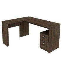 mesa 2 gavetas escritório rustico tecno mobili marrom