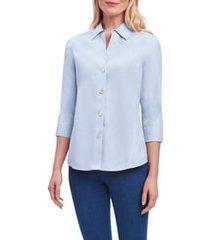 women's foxcroft paityn non-iron cotton shirt, size 18 - blue
