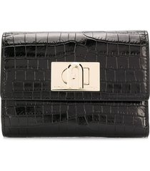 furla patent croc embossed wallet - black