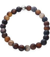 bracciale elastico con pietre e acciaio multicolore per uomo