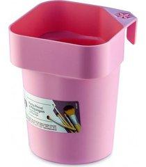 organizador porta pincel e maquiagem ordene de plástico rosa