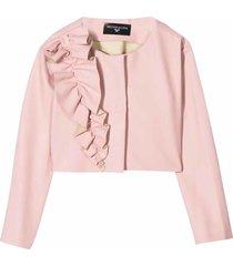monnalisa ruffle details textured jacket