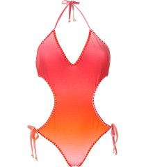 amir slama crocheted tie-dye one piece - orange