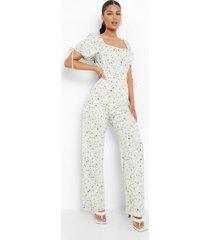 bloemen wide leg jumpsuit met pofmouwen, white