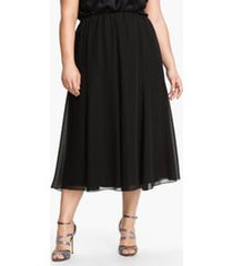 plus size women's alex evenings chiffon midi skirt, size 3x - black