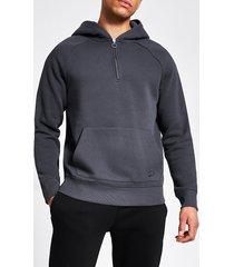 river island mens grey slim fit zip neck hoodie