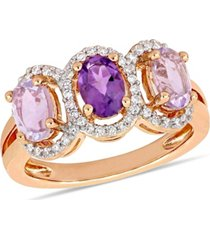 amethyst (1-5/8 ct.t.w.) and diamond (1/5 ct.t.w.) 3-stone halo ring in 18k rose gold over sterling silver