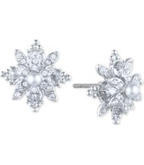 marchesa pave & imitation pearl flower stud earrings