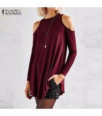 zanzea elegante de las mujeres blusas tops señoras del otoño del atractivo de la túnica del hombro de manga larga de la blusa floja ocasional pullover -vino rojo