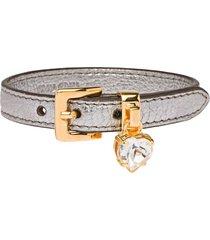 miu miu madras leather bracelet with crystal - metallic