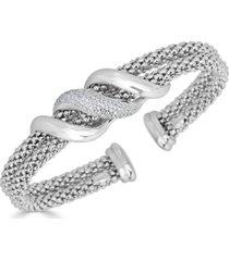 diamond swirl double row cuff bracelet (3/8 ct. t.w.) in sterling silver