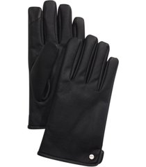 calvin klein men's faux-leather touch-screen gloves