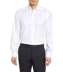 men's eton contemporary fit solid dress shirt, size 17.5 - white