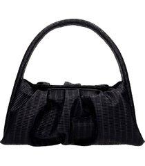 themoirè hera braid shoulder bag in black leather