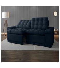 sofá 4 lugares net confort assento retrátil e reclinável petróleo 2,20m (l)
