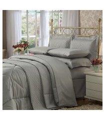 cobre leito solteiro plumasul soft touch percal 300 fios cinza