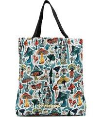charles jeffrey loverboy mushroom print tote bag - blue