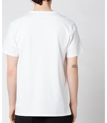 maison kitsuné men's navy fox patch classic t-shirt - white - l