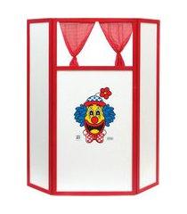 teatro de fantoche jott play dobrável cortinas móveis 176x160cm bco/vermelho