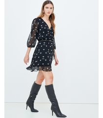 motivi vestito corto a portafoglio fantasia cuori donna nero