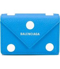 balenciaga mini paper spot-print wallet - blue