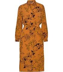 cefara drape printed shirt drs jurk knielengte bruin french connection